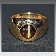 c1930, Signed GYPSY RING - Cat's Eye Stone / 14K Gold (J.E. Caldwell)