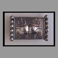 Vintage MEXICAN STERLING Brooch - Two Men, Siesta, Sombreros