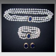 PEARL SUITE - Lapis, Gold, Diamonds  (3 piece set) - VERY FINE