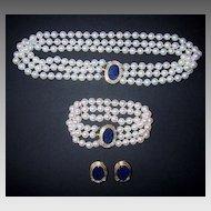 PEARL SUITE - Lapis, Gold, Diamonds  (3 piece set) - VERY FINE