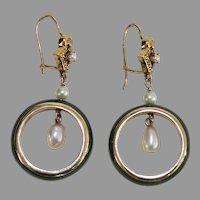 Vintage JADE HOOP EARRINGS - 14K Gold / Pearls / Nephrite Jade - Long