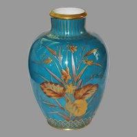 Antique CROWN DERBY VASE - Mint Condition, BLUE - gold encrusted Botanical Motifs, c1880