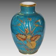 Antique CROWN DERBY VASE - Mint Condition, BLUE w/encrusted Botanical Motifs, c1900