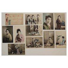 (set 10) Vintage JAPANESE POSTCARDS - Hand Colored, Original Envelope