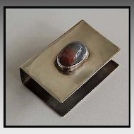 Signed Sterling MATCHBOX COVER / Agate, c1920