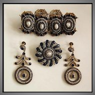 19th Century Antique HUNGARIAN JEWELRY SUITE  - Jeweled Bracelet, Brooch, Earrings