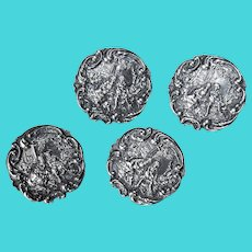 Signed Antique English STERLING BUTTONS - (set of 4) Courtship Scenes, c1904