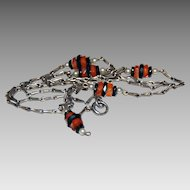 Vintage ART DECO NECKLACE (Choker) - Carnelian, Black Onyx, Pearls, Sterling Silver, c1920
