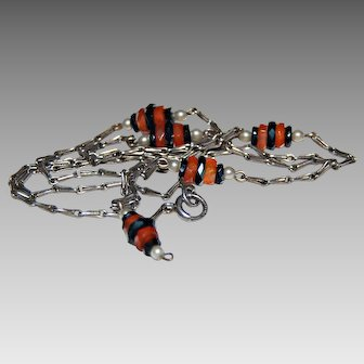 Vintage ART DECO NECKLACE (Choker) - Carnelian, Black Onyx, Pearls, Sterling Silver, c1920