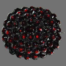 Victorian GARNET CLUSTER BROOCH - large, Antique