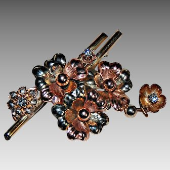 Large RETRO FLORAL BROOCH - Multi Color Gold, Diamonds, Signed Forstner
