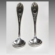Coin Silver SALT SPOONS - Olive Pattern  (pair)