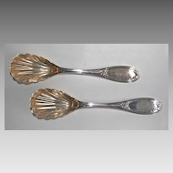 Coin Silver SUGAR SPOONS (pair) - Olive Pattern / Shell Bowls
