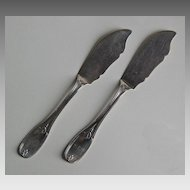 Coin Silver MASTER BUTTER KNIVES (pair) - Olive Pattern, Philadelphia