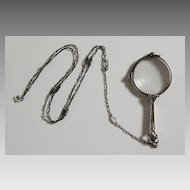 Antique Sterling LORGNETTE & CHAIN (Long, Ornate Sterling Chain)