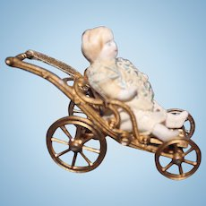 Tiny Metal Folding Doll Carriage with Doll