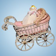 Painted Metal Doll Carriage with little doll