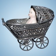 Silver Metal Doll Carriage with doll