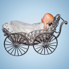 Twin Seat Doll carriage metal with doll
