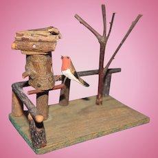 German Doll Display Scene with tree and bird house