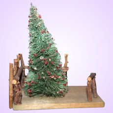 Doll Display Scene with evergreen tree