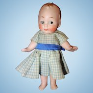 German All Bisque Character Girl Doll