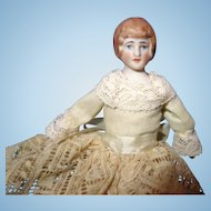 German Bisque Doll House Doll Molded Hair