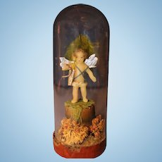 Wax Cupid Valentine in Glass Dome