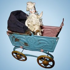 Metal Penny Toy Baby Carriage and doll