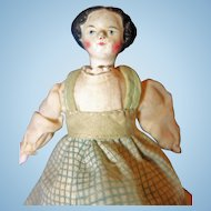 Rare Paper Mache Doll with jointed wood body