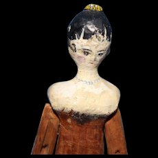 Grodnertal Wood Tiny Doll yellow Comb in hair