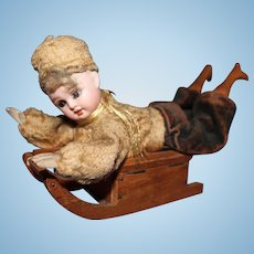Doll Sled Candy Container Bisque Doll