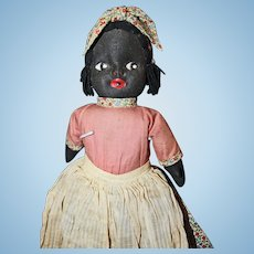 Unusual Black Cloth Doll with jointed head