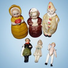 Group of German All Bisque Tiny Dolls