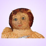 Early American Folk Oil Painted Doll Cloth