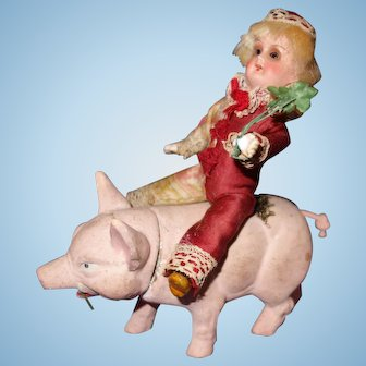 Candy Container Clown Doll Riding a Pig