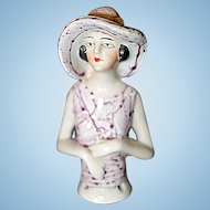 Unusual Flapper German Half Doll with hat