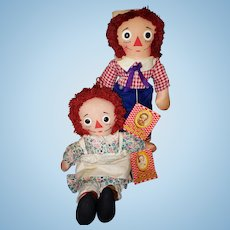 Knickerbocker Raggedy Ann and Andy Pair Tagged