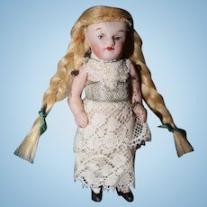 German Bisque doll as Christmas Ornament