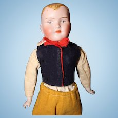 German Bisque Boy Shoulder head with molded hair