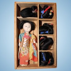 Japanese Doll with 5 wigs in original box