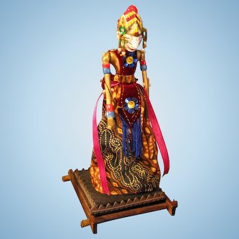 Indonesian Puppet doll jointed on stand