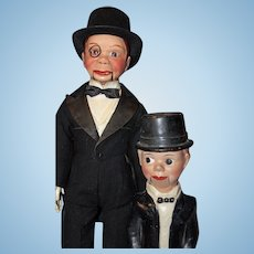 Charlie McCarthy Ventriloquist Composition doll and Friend