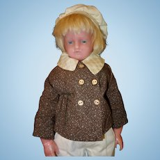 Wax Pierotti Doll  Signed 21 inches