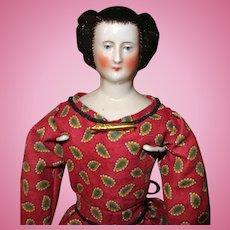 Early China doll Elaborate upswept hairdo