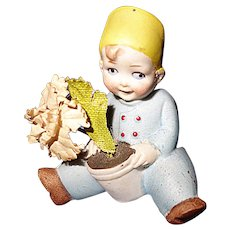 German All Bisque Boy with Flowers