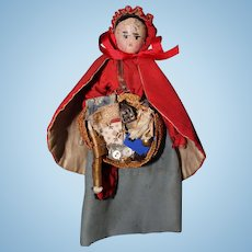 Small Wood Peddler Doll with mini doll