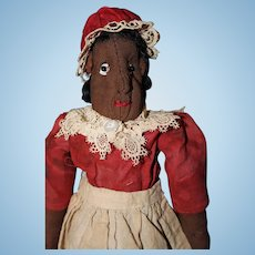Early All Cloth Black Folk Art Doll
