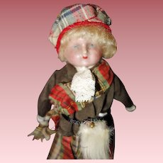 Wax over Paper Mache  Doll dressed in Scottish Costume