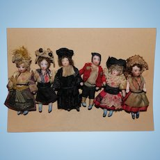 Six French All bisque Lilliputian Dolls A/O